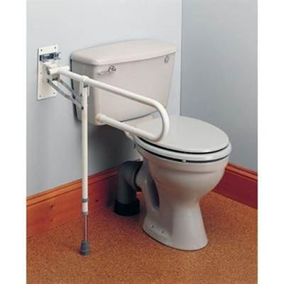 Fold Away Toilet Rail With Support Leg