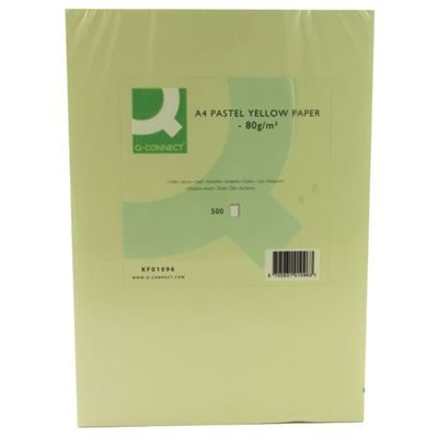Q-Connect Yellow A4 Copier Paper - 80gsm - Pack of 500