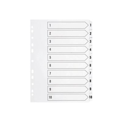 1-10 Indexed Dividers - A4 - White
