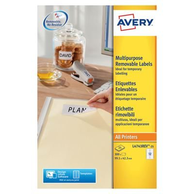 Avery White Removable Labels - 12 Per Sheet - Pack of 300