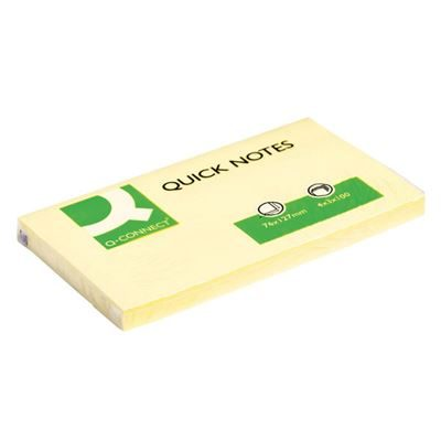 Q-Connect Quick Notes - Yellow - 76x127mm - Pack of 12