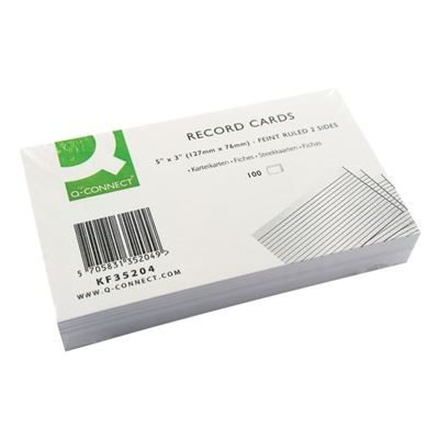 Q-Connect Record Card - Ruled Feint White - 127x76mm - Pack of 100
