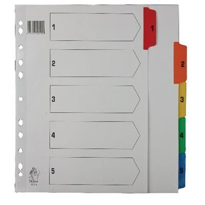 1-5 Indexed Dividers - A4 - Multicoloured