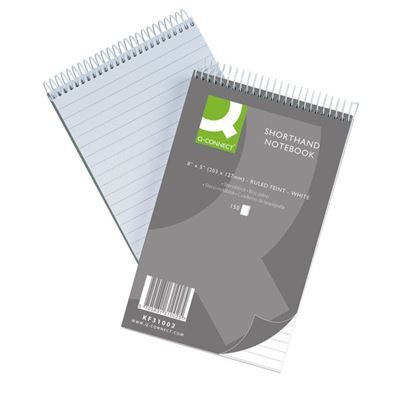Q-Connect Feint Ruled Shorthand Notebook 300 Pages - 203x127mm - Pack of 10